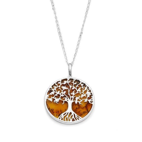 magnifique collier arbre de vie ambre cognac et argent 925 1000 sn1437 a ambre et. Black Bedroom Furniture Sets. Home Design Ideas
